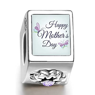 Happy Mother's Day Alphabet Words Butterfly June Birthstone Photo Flower European charm bead