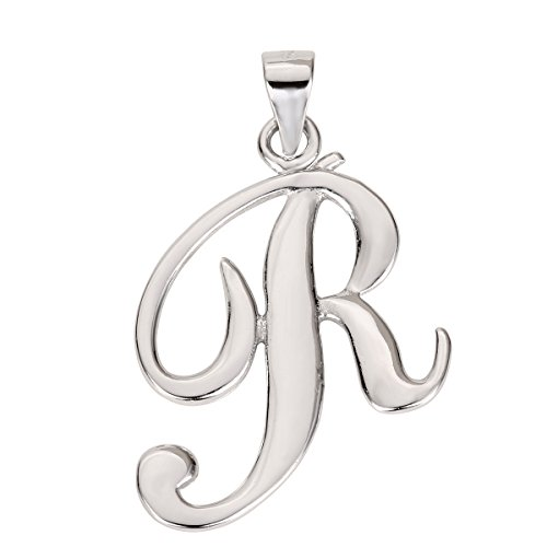 CloseoutWarehouse Sterling Silver Letter R Classic Script Initial Pendant (Letters A-Z Available) from CloseoutWarehouse