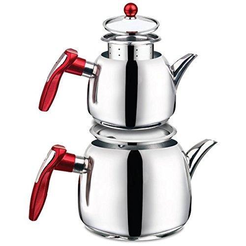 (18/10 Stainless Steel Double Tea pot Samovar Turkish Tea Pot set (KUGU))