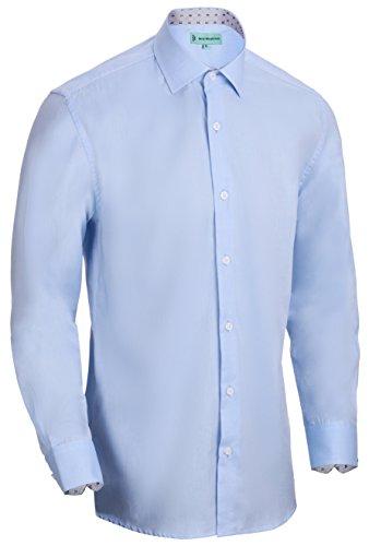 - Mio Marino Long Sleeve Dress Shirts For Men - Formal Casual Slim Fit Shirt - Cotton (Cornflower, M)