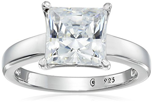 Platinum-plated Sterling Silver Princess-Cut Solitaire Ring made with Swarovski Zirconia (3 cttw), Size 6 ()
