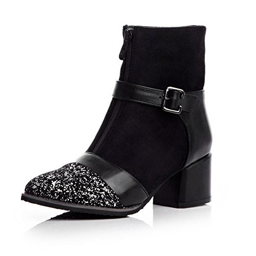 Toe Top AmoonyFashion Pointed Closed Womens PU Materials Kitten Low Boots Blend Black Heels Yrq8YXw