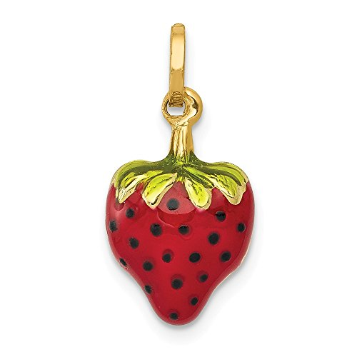 14k Yellow Gold Enameled Strawberry Pendant Charm Necklace Food Drink Fine Jewelry Gifts For Women For Her