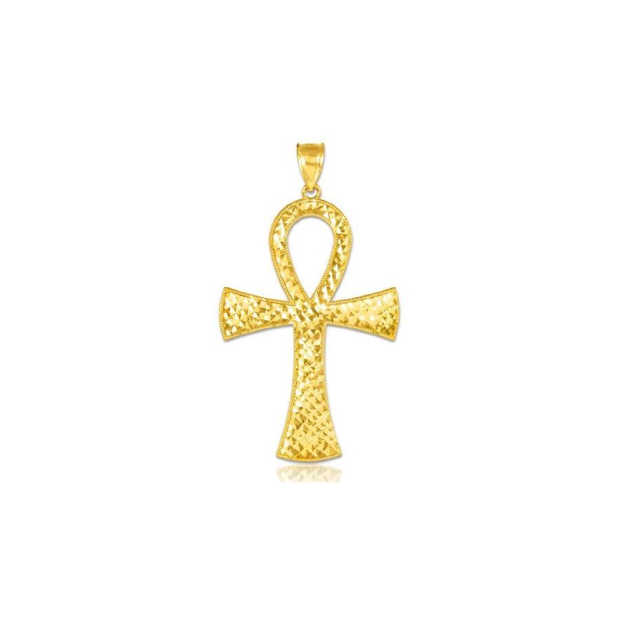 14k Yellow Gold Egyptian Ankh Cross Gold Pendant