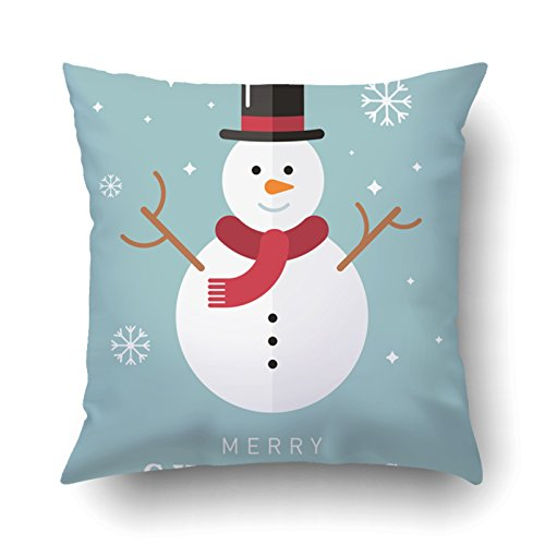 Emvency Pillowcases Xmas Dec Merry Christmas Cute Snowman With Black Hat Blue Pillow Case Cushion Cover Case Throw Pillow Case Square 16x16 - Small French Victorian Black Hat
