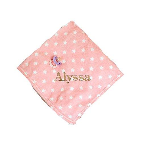 GiftsForYouNow Star Plush Embroidered Baby Blanket, Pink ()