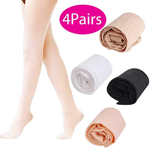 Hicdaw Ballet Tights, 4Pairs Ultra Soft Ballet Tights for Girls Dance Tights for Toddler Dance Ballet Tight Ballet Footed Tights for Girls