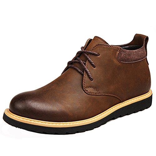 GUCIHEAVEN Men Retro Chukka Boot Leather Wedges Walking Shoe Khaki