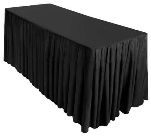 GHP Trade Show Display Black 96''x30''x29'' Fitted Polyester Table Skirt Tablecloth w Topper