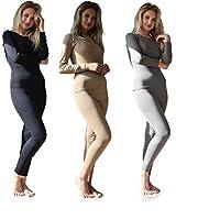 Sexy Basics Women's 3 Set - 6 Piece Mix & Match Base Layer Tops & Pants Thermal Underwear Sets / 100% Cotton