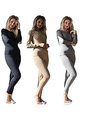 De la Mujer térmica ropa interior set parte superior & Bottom algodón con forro polar