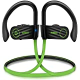 Anbes Bluetooth Headphones, Wireless Earbuds Sport w/Mic IPX7 Waterproof, Bluetooth 4.1 HD Stereo Sweatproof In-Ear Earphones, Noise Cancelling Headset for Gym Running Workout,8 Hours Playtime (Green)