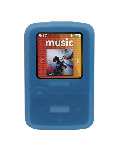 iShoppingdeals - for Sandisk Sansa Clip Zip 4GB 8GB MP3 Player (SDMX22) Soft Rubber Silicone Skin Case Cover, Blue ()