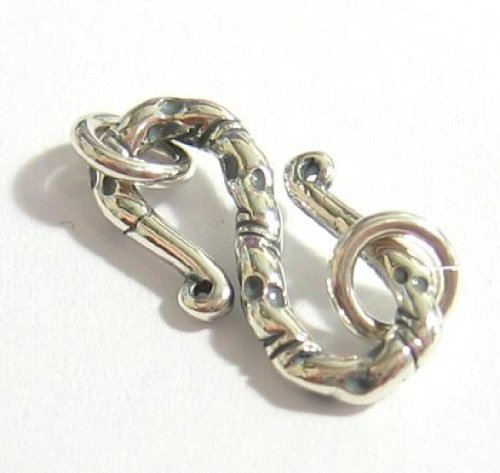 (1 set .925 Sterling Silver Bali S Hook Eye Clasp 20mm Jump Ring 6mm/Findings/Antique)