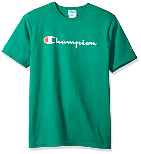Green Mens Tee - Champion LIFE Men's Heritage Tee, Kelly Green/Patriotic Champion Script, L