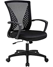 Office Chair Ergonomic Desk Chair Mesh Computer Chair with Lumbar Support Armrest Mid Back Rolling Swivel Adjustable Task Chair (Black)