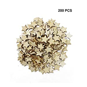 UPlama 200PCS Small 1 inch Size Wood Stars Cutout Shape, DIY Decorating Photo Props for Arts, Crafts & Sewing.(25mm)