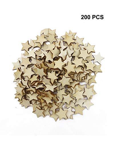 UPlama 200PCS Small 1 inch Size Wood Stars Cutout Shape, DIY Decorating Photo Props for Arts, Crafts & Sewing.(25mm) ()