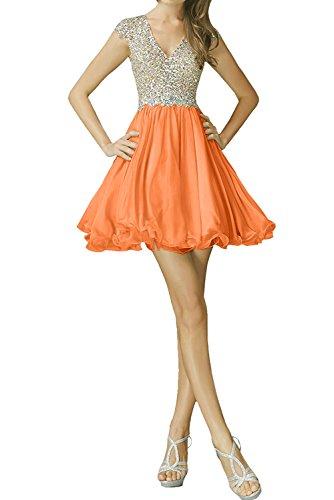 Sunvary Festlich Neu V-Neck Steine Paillette Cocktailkleider Chiffon Kurz Partykleider Abendkleid Orange DPHXuYKE