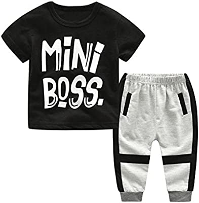 e35eed54b Amazon.com: Hot Sale!Todaies Kids Baby Boys Letter Print T shirt Tops+Pants Outfits  Clothes Set (12-24M, Black): Beauty