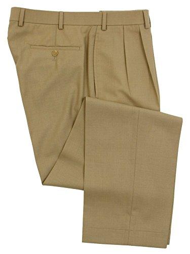 Ralph Lauren Mens Double Pleated Tan Wool Dress Pants - S...