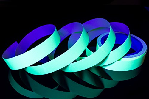 - Glow in The Dark Green Luminous Fluorescent Adhesive Tape Sticker Premium Quality 30' ft Length x 1'' inch Wide Non-Toxic Waterproof Easy Application Photoluminescent Neon Safety Tape