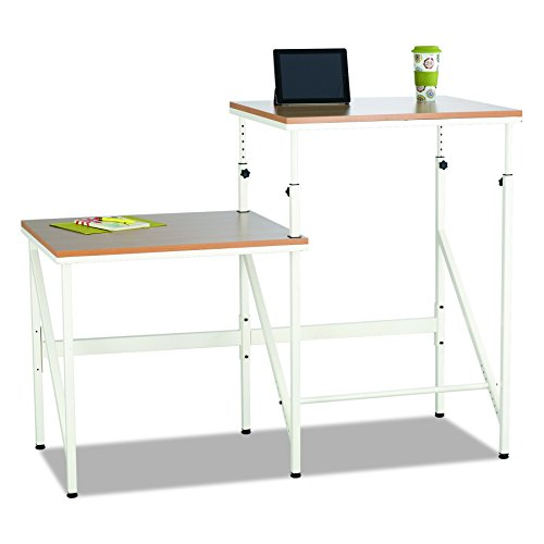 Safco Products 1956BH Sit/Stand Bi-Level Desk, Beech/White