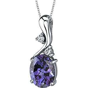 Simulated Alexandrite Pendant Necklace Sterling Silver 3.50 Carats Oval Shape