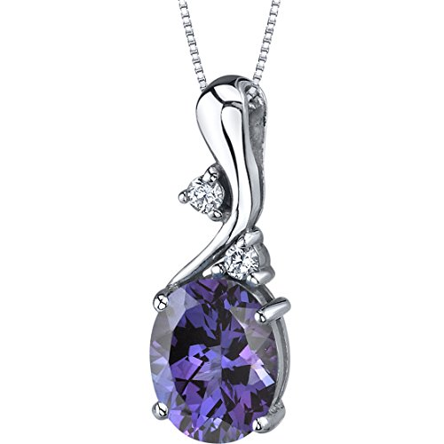 (Simulated Alexandrite Pendant Necklace Sterling Silver 3.50 Carats Oval Shape)