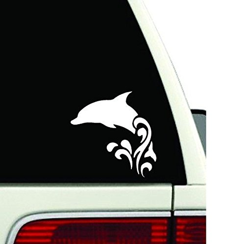 (Dolphin Jumping Waves Car Window Vinyl Decal Sticker (5.5