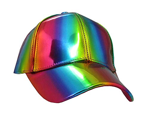 Iridescent Rainbow Baseball Cap Trucker Hat Pride Shiny Colorful Unisex]()