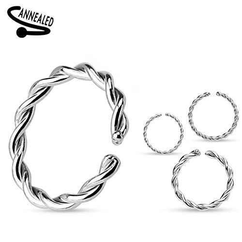 ((3 pieces) 18g (1mm) BRAIDED Nose Hoop Annealed and Rounded Ends Cut Ring 316L surgical steel (nose, cartilage, eyebrow, ear, (8mm diameter))