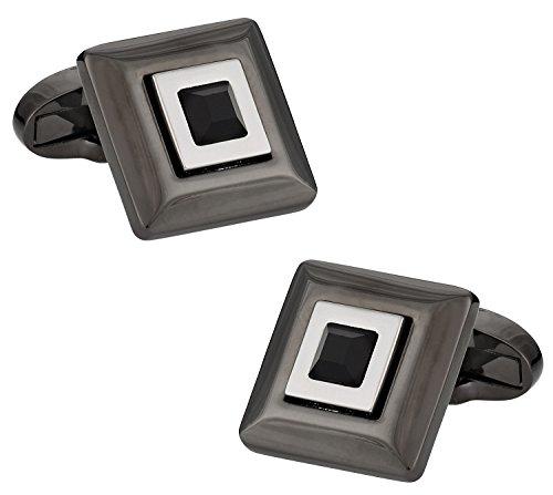 Cuff-Daddy Black Crystal Hematite Cufflinks with Presentation Box