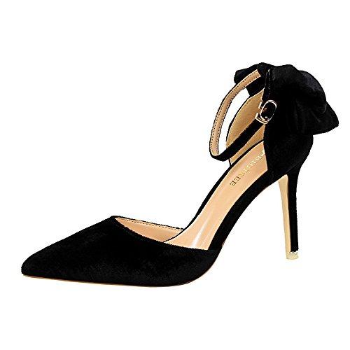 z&dw Zapatos de gamuza fina con zapatos de tacón alto arco sandalias de correa palabra Negro