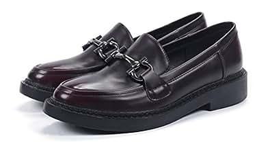 Oxford Shoes Women Flat, Ladies School Uniform Dress Shoe Work Use Anti-skid Vintage (7.5, Deep Red)