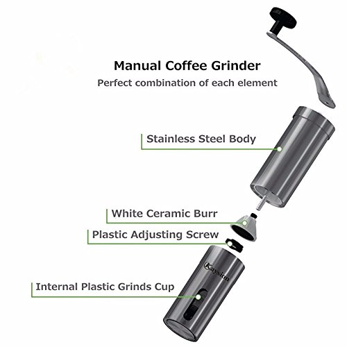 Hand Coffee Grinder Stainless Steel Handle Ceramic Burr Manual Adjustable Mill (Opus One Gift Basket)