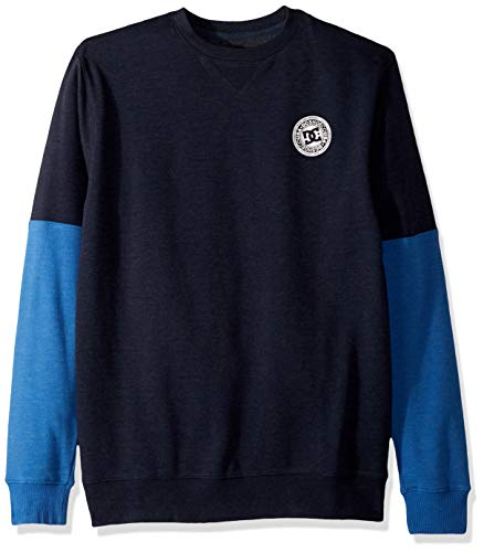 DC Men's Rebel Sleeve Block Fleece, Black iris ()