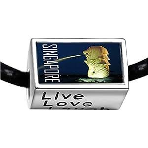 Chicforest Silver Plated Travel Merlion Singapore Photo Live Love Laugh Charm Beads Fits Pandora Bracelet