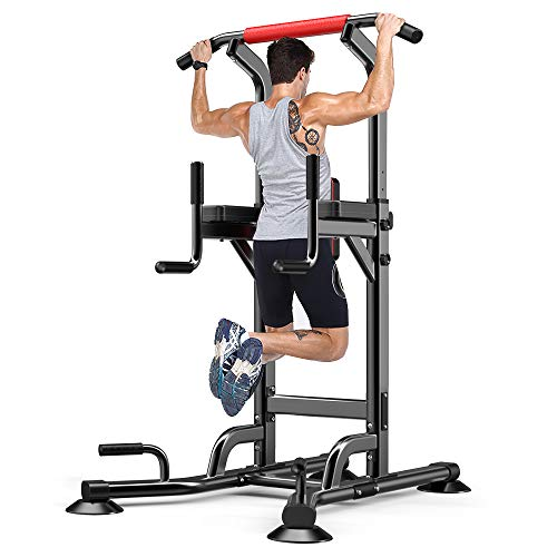 YOLEO Adjustable Power Tower – Multi Function Pull up Station for Strength Training – Dip Stand Workout Fitness Bar – Push up Equipment of Home Gym Exercise