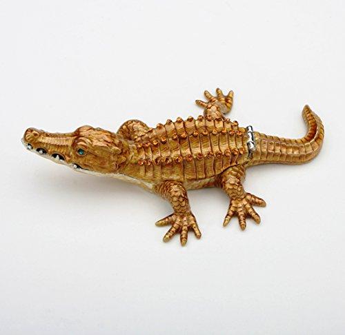 Crocodile Alligator Box Swarovski Crystals Jewelry, Trinket or Pill Box FIGURINE - Emerald Jewelry Scale