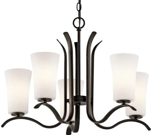 Kichler 43074OZ, Armida Glass 1 Tier Chandelier Lighting, 5 Light, 500 Total Watts, Olde Bronze
