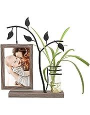 Afuly 4x6 fotolijst met kleine glazen vaas opknoping op unieke lichtbruine houten sierstandaard