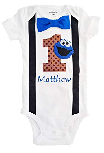 Baby Boys 1st Birthday Outfit Cookie Monster Bodysuit - Personalized]()