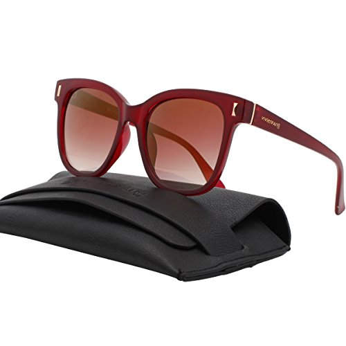 VIVIENFANG Street Fashion Mirror Lens Oversized Square Sunglasses Women Shades P2222B (Claret Shades)