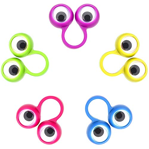 Frienda 30 Pieces Eye Finger Puppets Eye On Rings Googly Eyeball Ring Party Favor Toys for Kids, 5 Colors (Small Size)