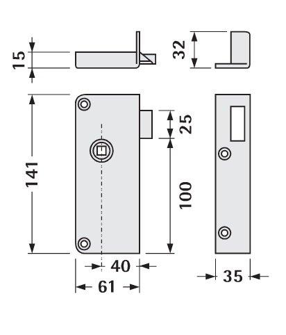 Serrure droite en applique 1 point extra-plate bec de cane JPM SAS 456000-01-1Y