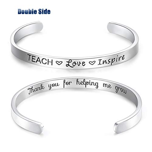 CERSLIMO Teacher Gifts Graduation Gifts Teacher Bracelet Jewelry Teach Love Inspire Cuff Bangle Appreciation Thank You Gifts from Student for Women