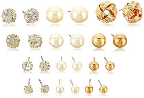 - White/Gold Tone Post Stud Earrings