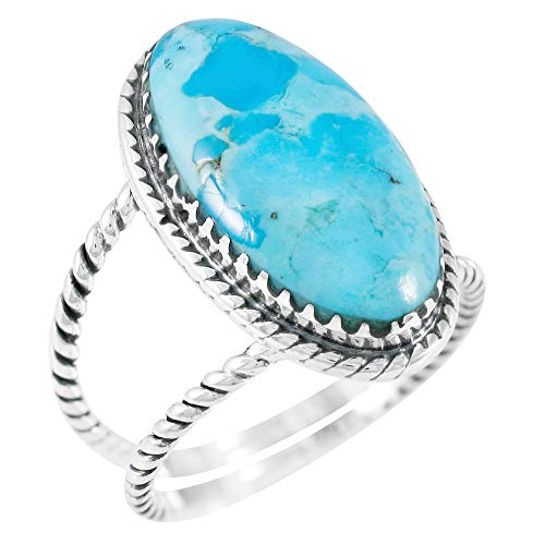Turquoise Ring Sterling Silver 925 Genuine Gemstones Size 6 to 11 (Turquoise) (8)