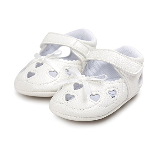 (Meckior Infant Baby Girls Sandas Summer Soft Leather No-Slip Princess Shoes (6-12 Months, A-White))
